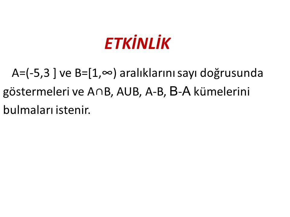 ETKİNLİK A=(-5,3 ] ve B=[1,∞) aralıklarını sayı doğrusunda göstermeleri ve A∩B, AUB, A-B, B-A kümelerini bulmaları istenir.